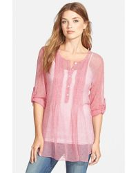 Casual Studio - Red Pleat Front Peasant Blouse - Lyst