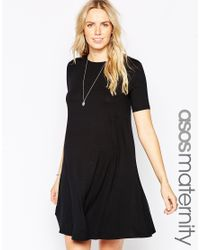 ASOS | Black Swing Dress With Seam Detail And Short Sleeves | Lyst