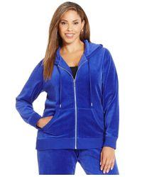 Michael Kors | Blue Michael Plus Size Zip-front Velour Hoodie | Lyst