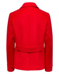 Jaeger - Red Wool Classic Pea Coat - Lyst