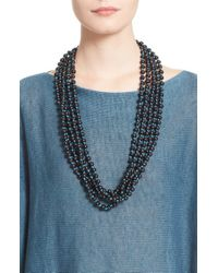Eskandar | Blue Acai Seed Bead Triple Strand Necklace - Marine | Lyst