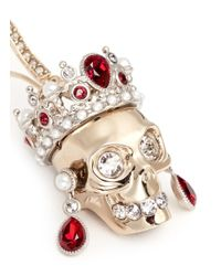 Alexander McQueen - Metallic Swarovski Crystal Royal Skull Earrings - Lyst