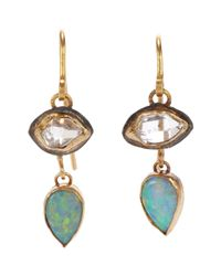 Judy Geib | Green Women's Herkimer Diamond & Opal Double-drop Earrings | Lyst