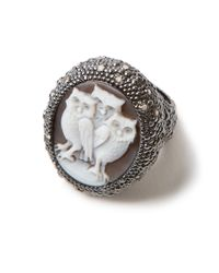 Amedeo | Gray Three Owl White Diamond Ring | Lyst