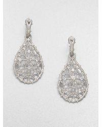 Judith Ripka | Metallic White Sapphire Sterling Silver Teardrop Earrings | Lyst