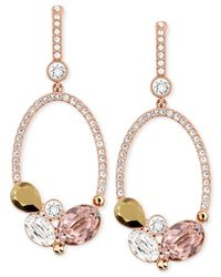 Swarovski | Pink Branch Rose Goldtone And Crystal Drop Earrings | Lyst