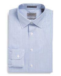 John W. Nordstrom - Blue Trim Fit Check Dress Shirt for Men - Lyst