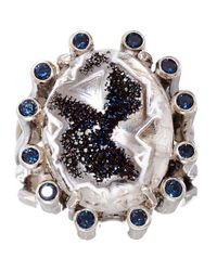 Stephen Dweck - Blue Silver Druzy and Iolite Ring - Lyst