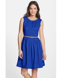 Ellen Tracy | Blue 'kenya' Belted Pleated Cotton Fit & Flare Dress | Lyst