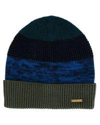 DIESEL - Blue Striped Beanie for Men - Lyst
