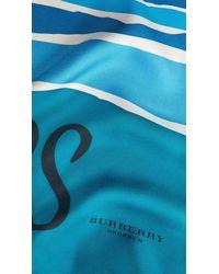 Burberry - Blue Landscapes Print Silk Square - Medium - Lyst