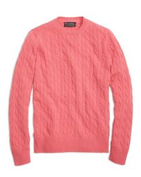 Brooks Brothers | Pink Cashmere Cable Crewneck Sweater for Men | Lyst