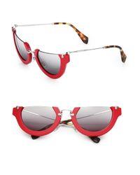 Miu Miu | Red Semi-rim 52mm Round Sunglasses | Lyst