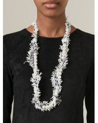 Lanvin - White Fluffy Necklace - Lyst