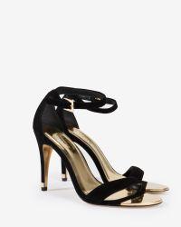 Ted Baker - Black Suede Ankle Strap Sandals - Lyst