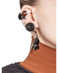 Marni - Black Double-clip Earrings In Strass - Lyst
