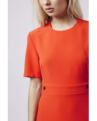 TOPSHOP | Red Popper Shift Dress | Lyst