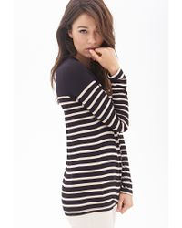 Forever 21 - Black Contemporary Striped Knit Top - Lyst