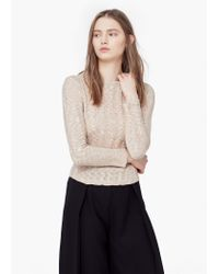Mango | Natural Ribbed Cotton-blend Sweater | Lyst