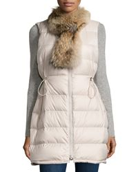 Theory - Natural Womira Lofty Fur-trim Down Vest - Lyst