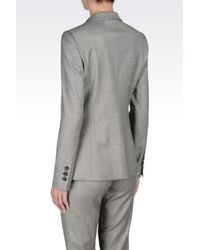 Emporio Armani | Gray Runway Micro Patterned Long Jacket | Lyst