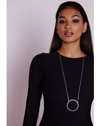 Missguided | Metallic Cut Out Circle Pendant Necklace | Lyst