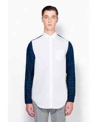 3.1 Phillip Lim - Blue Combo Sleeved Button Up With Elastic Cuff for Men - Lyst