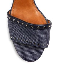 Lanvin - Blue Wedge Sandals - Lyst