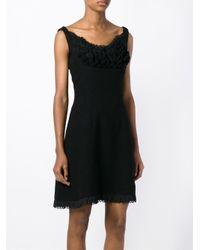 Prada - Black Ruffle Trim Dress - Lyst
