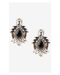 Express - Black Mixed Rhinestone Post Drop Earrings - Lyst