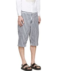 McQ - Black And White Vertical Striped Shorts for Men - Lyst