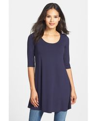 Eileen Fisher | Blue Scoop Neck Elbow Sleeve Jersey Tunic | Lyst