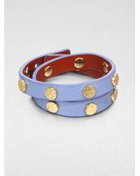 Tory Burch | Purple Double Logostudded Leather Wrap Bracelet | Lyst