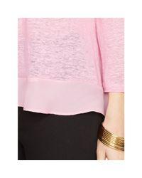 Ralph Lauren - Pink Ruffled Crop-sleeved Top - Lyst