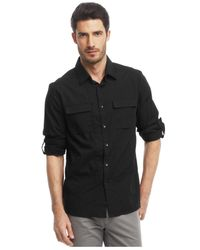 Kenneth Cole Reaction | Black Core Novelty Roll-tab Shirt for Men | Lyst