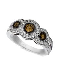 Le Vian - Diamond Chocolate Diamond White Diamond Three Stone (3/4 Ct. T.w.) In 14k White Gold - Lyst