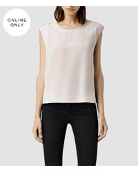 AllSaints - Gray Ombra Top - Lyst