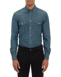 Aspesi - Gray Chambray Western Shirt for Men - Lyst