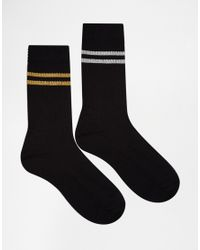 ASOS | Black 2 Pack Sports Style Socks With Glitter Stripes for Men | Lyst