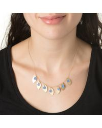Wendy Mink | Blue Agate & Gold Leaf Necklace | Lyst