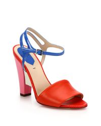 Fendi - Red Fantasia Colorblock Mixed Leather Sandals - Lyst