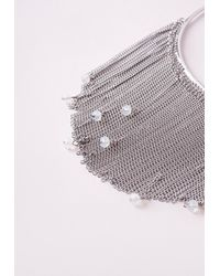 Missguided - Metallic Crystal Drop Layered Collar Necklace Silver - Lyst
