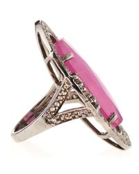 Bavna - Metallic Ruby Diamond Oval Ring - Lyst