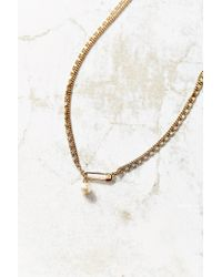Urban Outfitters - Metallic Pin + Pearl Necklace - Lyst