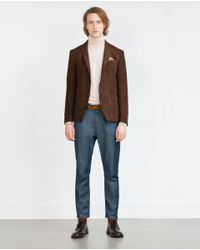 Zara | Brown Faux Suede Blazer for Men | Lyst