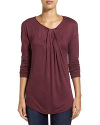 Halogen Purple Long Sleeve Knot Front Top