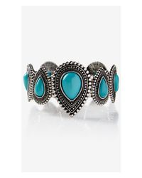 Express - Blue Southwestern Teardrop Stretch Bracelet - Lyst