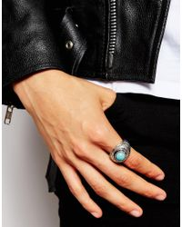 ASOS | Metallic Embellished Ring With Turquoise Stones for Men | Lyst