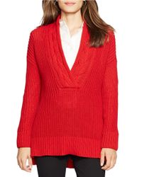 Lauren by Ralph Lauren | Red Ribbed Cotton Sweater | Lyst