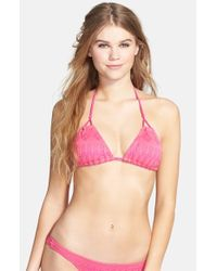 Volcom - Purple 'surfeza' Crochet Triangle Bikini Top - Lyst